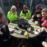 Eltham Velo Cycling Club relax at Lullingstone Eynsford Kent