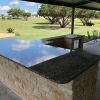 A black granite countertop