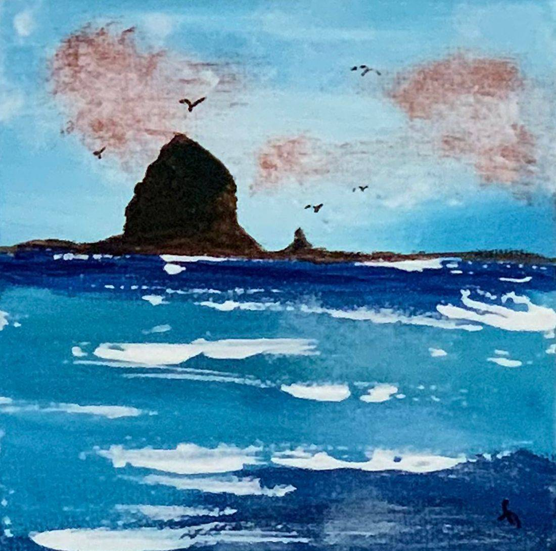 Songwriter, Haystack Rock, Pacific Ocean, ocean, Oregon Coast, cloudy skies, Oregon Artist, Abstract Artist, Local Artist, Hope Angel Fine Art