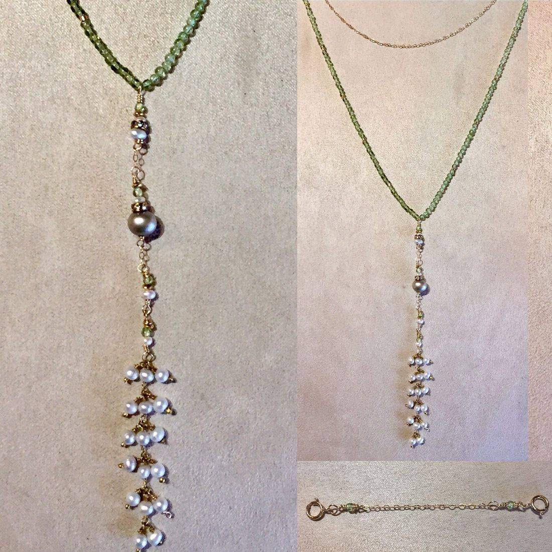 "5"" perodot & pearl drop necklace, 25"" overall, edwardian style, worn long or doubled with gemstone & chain connector"