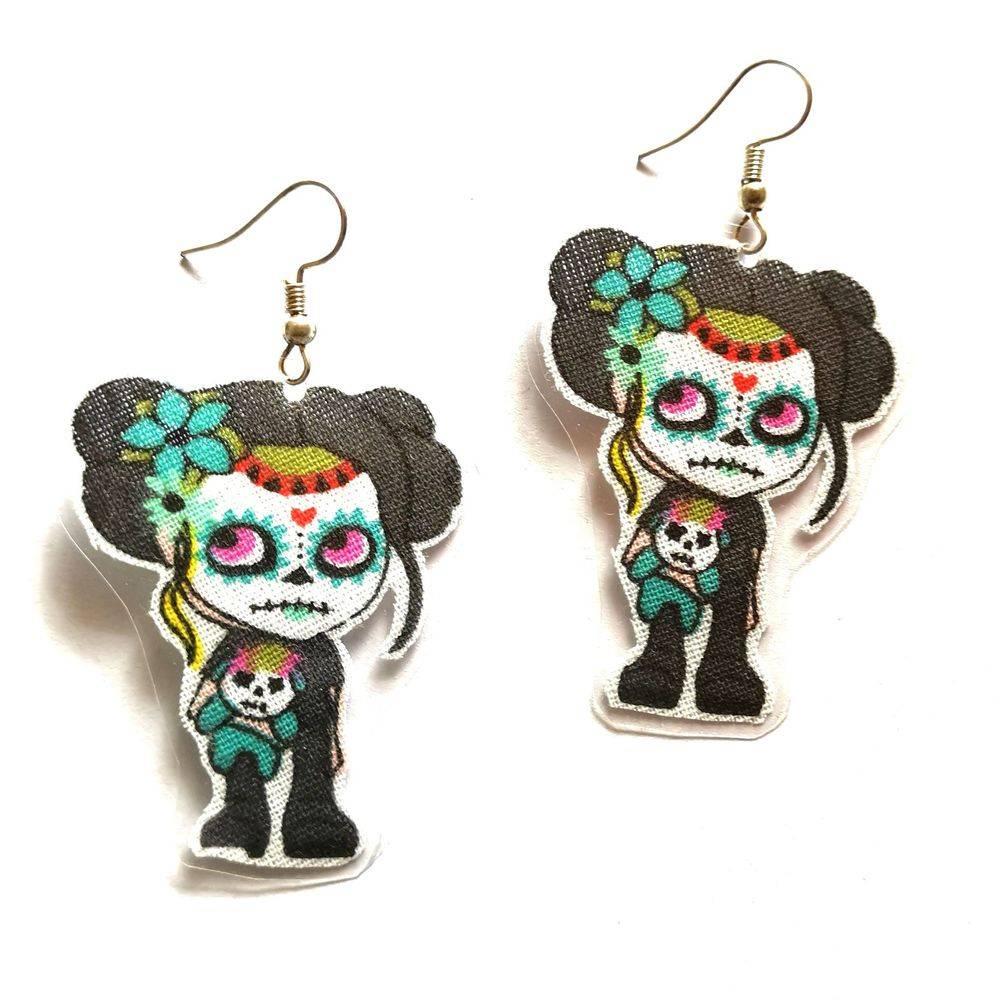 Boucles d'oreilles rock, boucles d'oreilles tête de mort, Bijoux rock, bijoux crâne, bijoux tête de mort, bijoux Biker, bijoux rockabilly, bijoux pinup, Skull, crâne, tête de mort, bijoux artisanaux, Rock'n'Babe, rocknbabe, rocknbabeshop, tête de mort mexicaine, Katskull