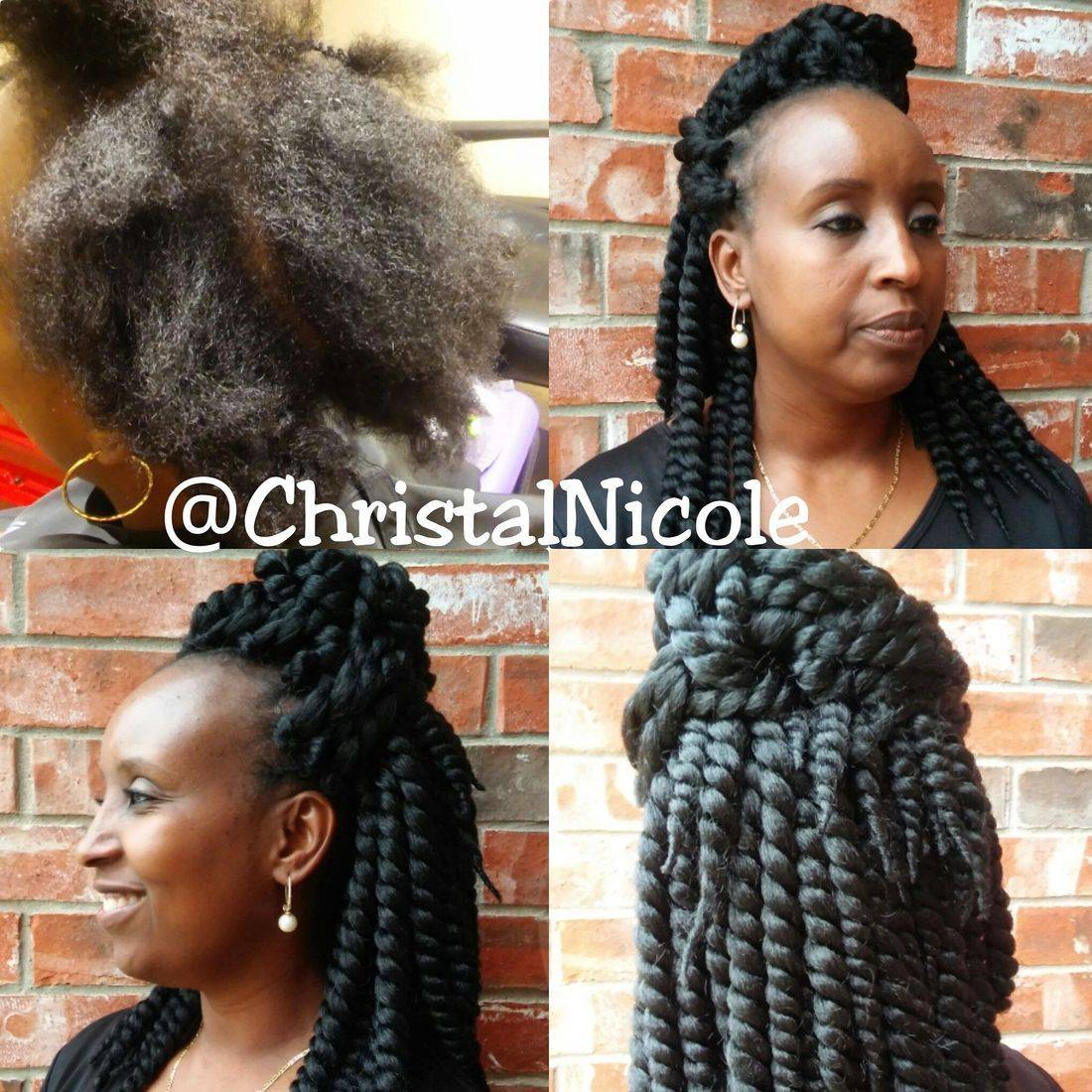before and after- crochet braid hairstyle with twisted hair