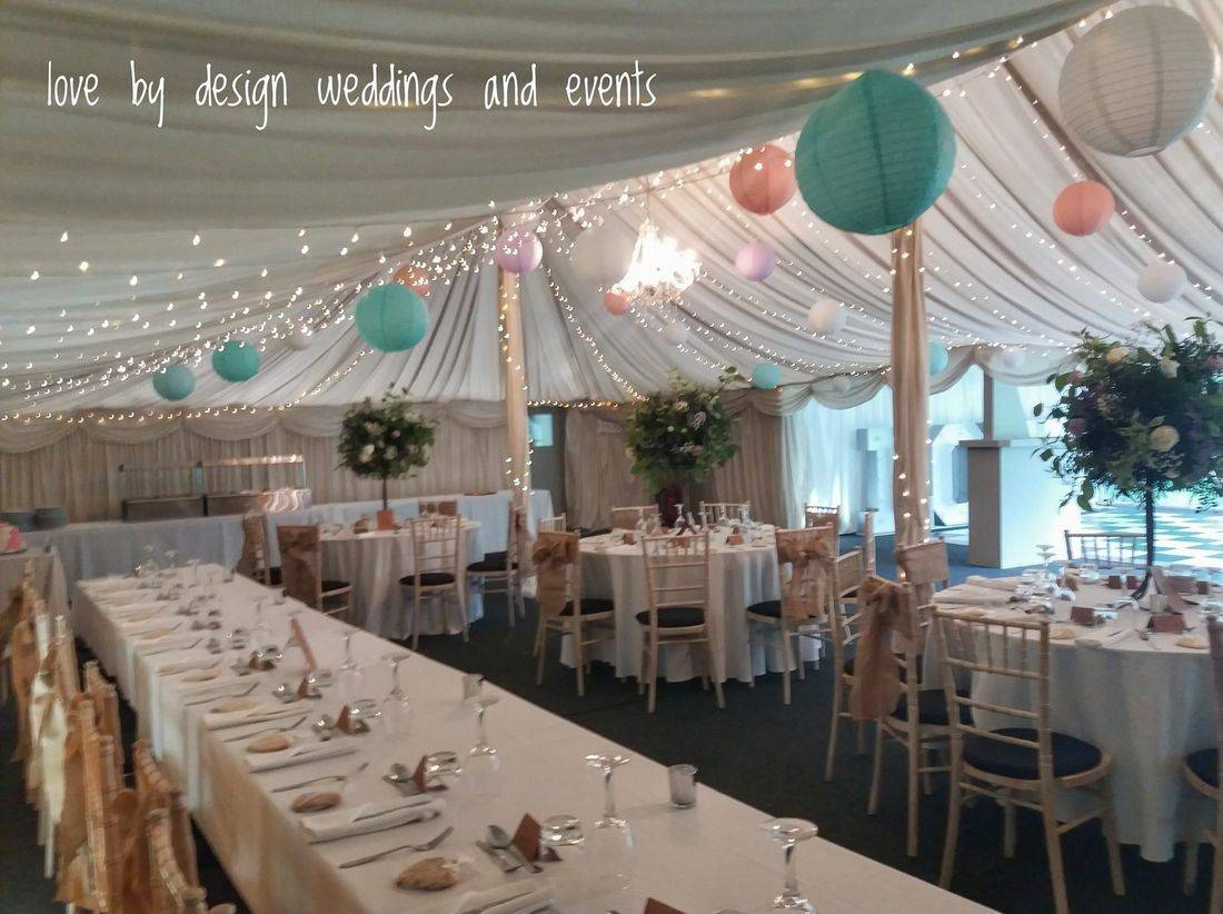 A wedding reception in the marquee at the Old Vicarage Hinton