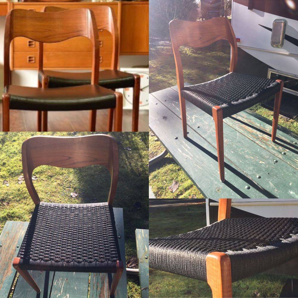 Moller Chair 71 - Pleather Chair Revived to Black Danish Cord
