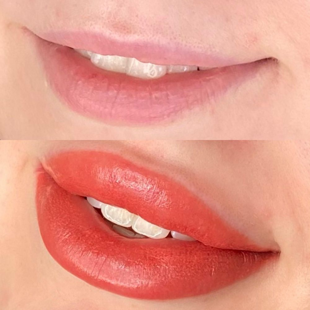 Gorgeous lip blush tattoo