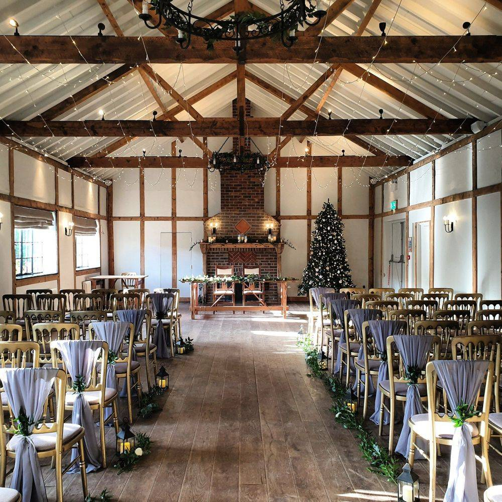 Winter wedding reception styling by Love By Design Weddings at Burley Manor Barn