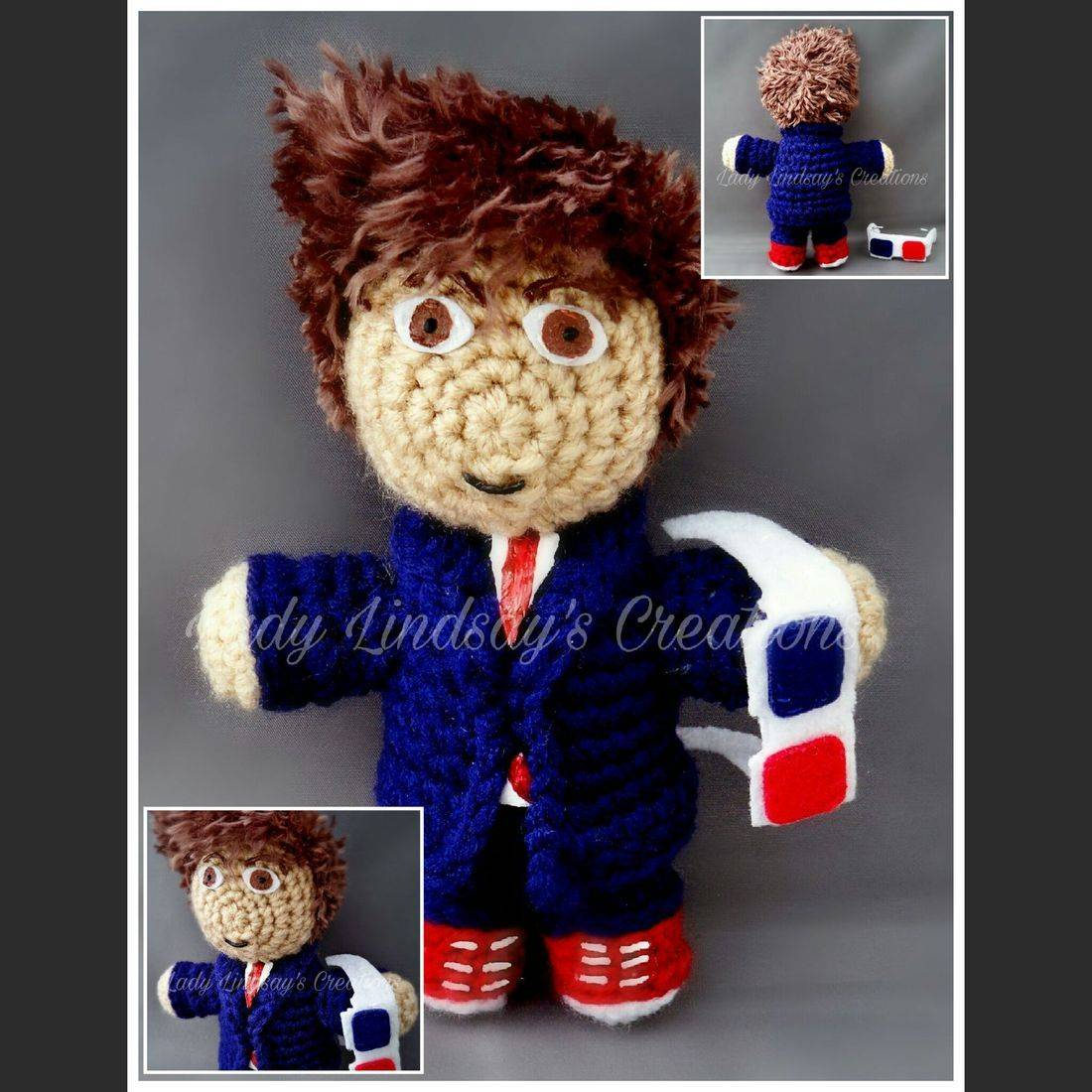 David Tennant, amigurumi, 3D Glasses, plush, doll, Doctor Who,  10th Doctor, nerd, geek, comicbook, 3D figure, handmade, etsy, Sonic Screwdriver
