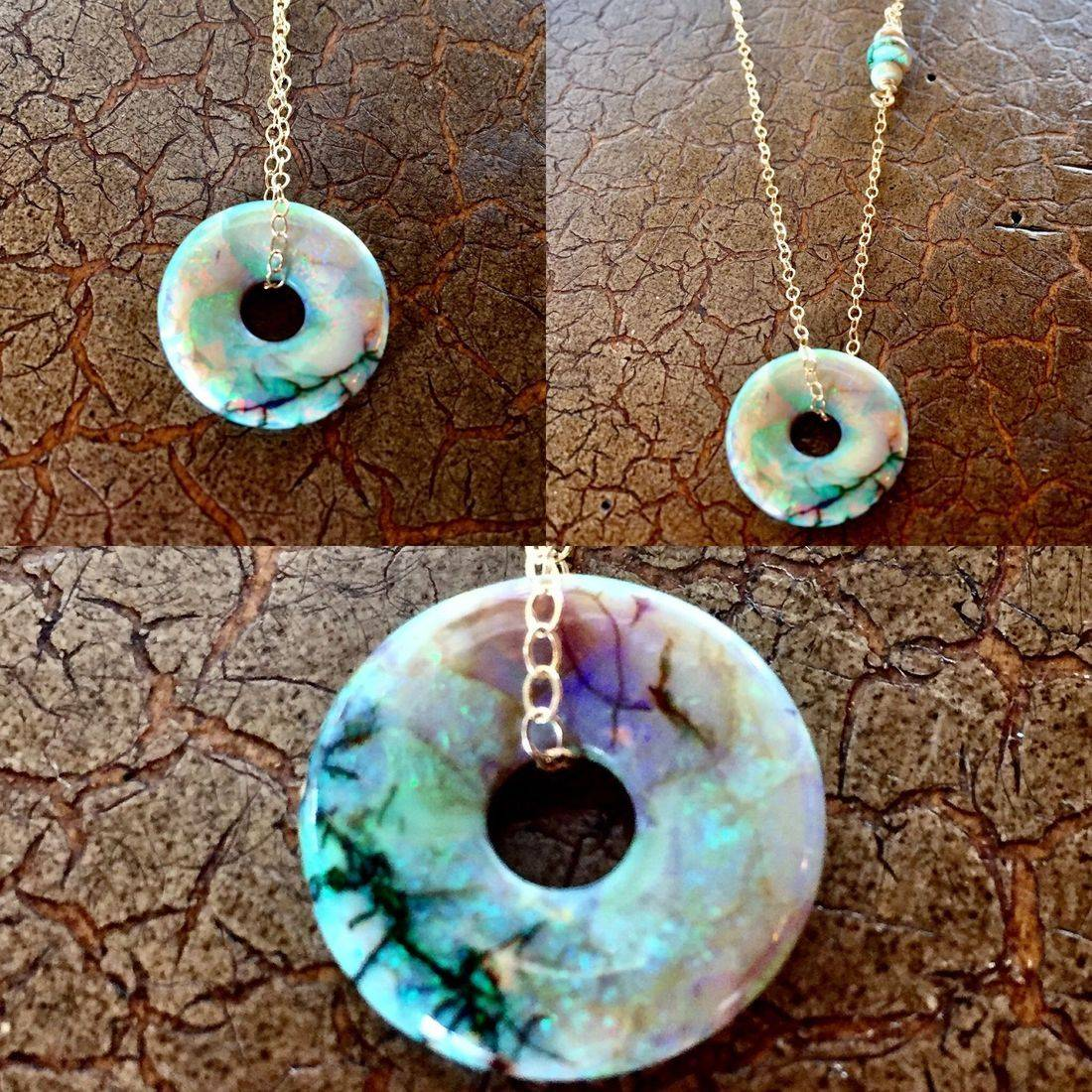 "Front and Back....Cultured Opal Lifesavers 18mm on 17"" 14k gold filled chain $85.00 USD or 117.00 CAD"