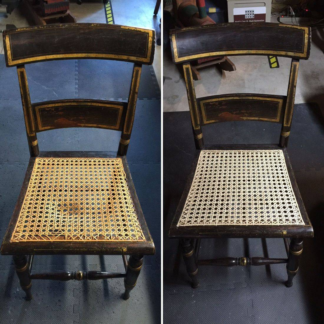 Hitchock Chairs hand caned done by Hank's Cane and Rush Restoration