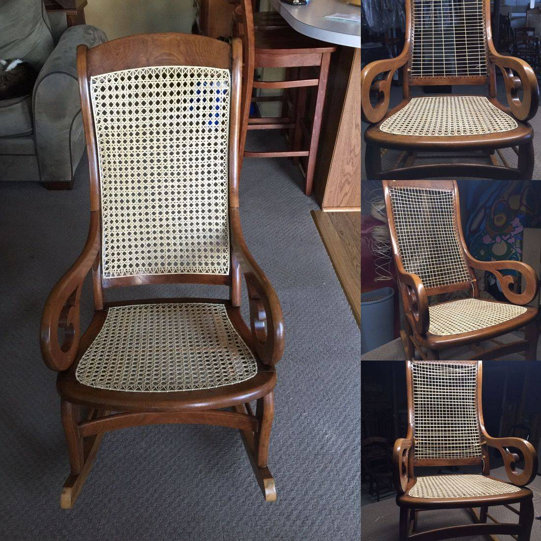 Caned Lincoln Rocker done by Hank's Cane & Rush Restoration