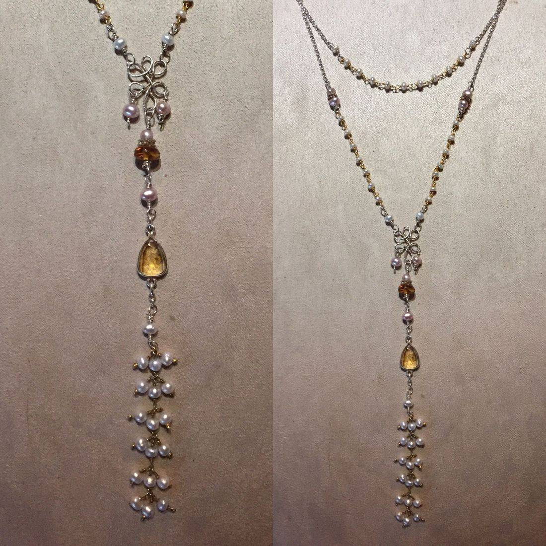edwardiain style gemstone drop necklace with bezel set citrine, silver chandelier amber, and seed pearl tassel