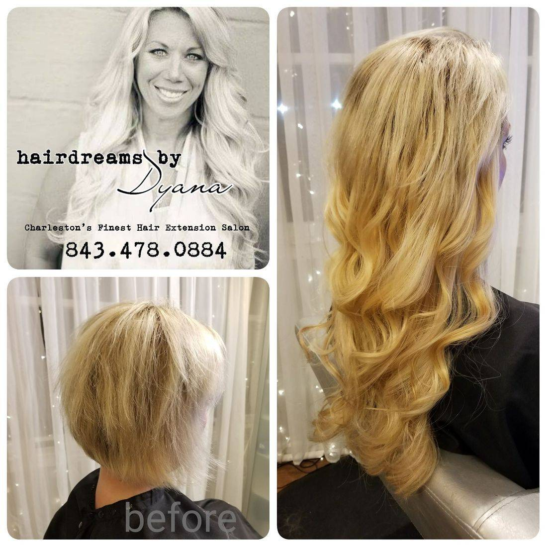 The Winchester Spa and Salon HairDreams by Dyana before and After Hair Extensions.  Summerville, SC