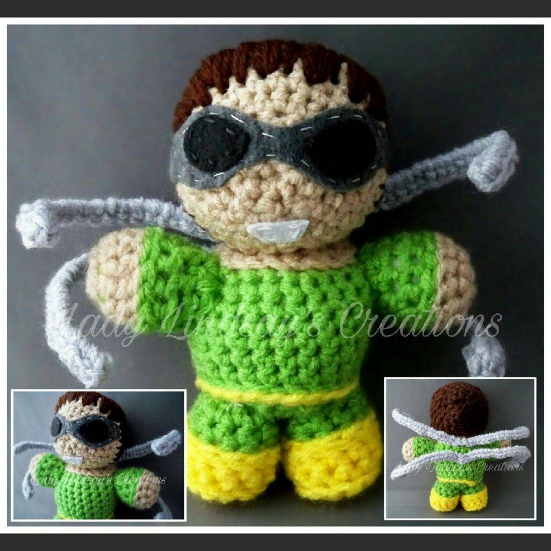 Doc Oc, Doctor Octavius, Spiderman, homecoming, Marvel, amigurumi, doll, plush, nerd, geek, collectible, crochet, handmade, Peter Parker