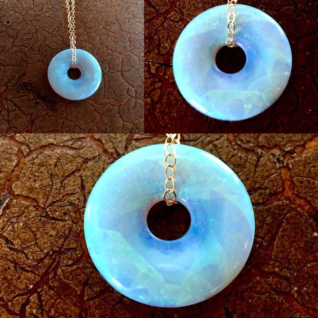 "Front and Back....Cultured Opal Lifesavers 18mm on 17"" 14k gold filled chain $95.00 USD or 126.00 CAD"
