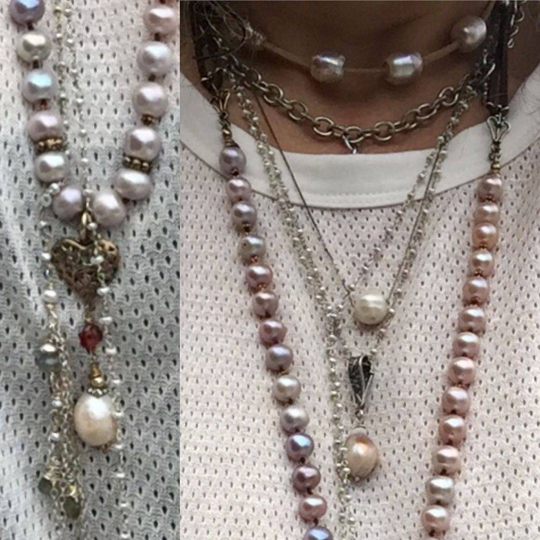a very bohemian layering of sterling silver necklace and gorgeous pearls