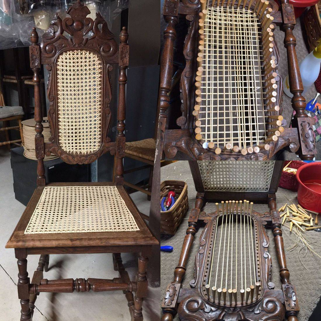 Blind or French Caned Back circa 1890 done by Hank's Cane & Rush Restoration