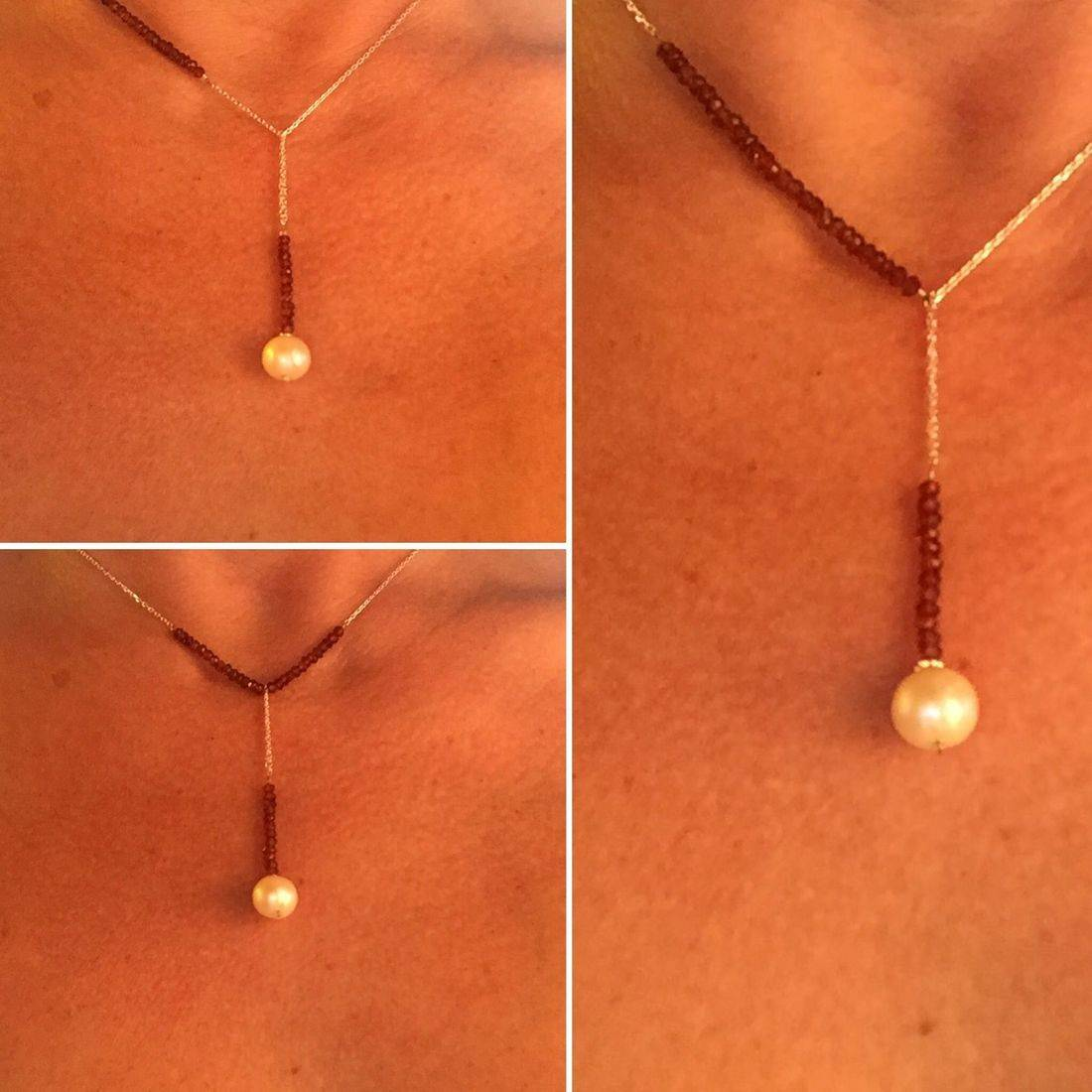 silver and garnet gemstone bar necklace with freshwater pearl pendant