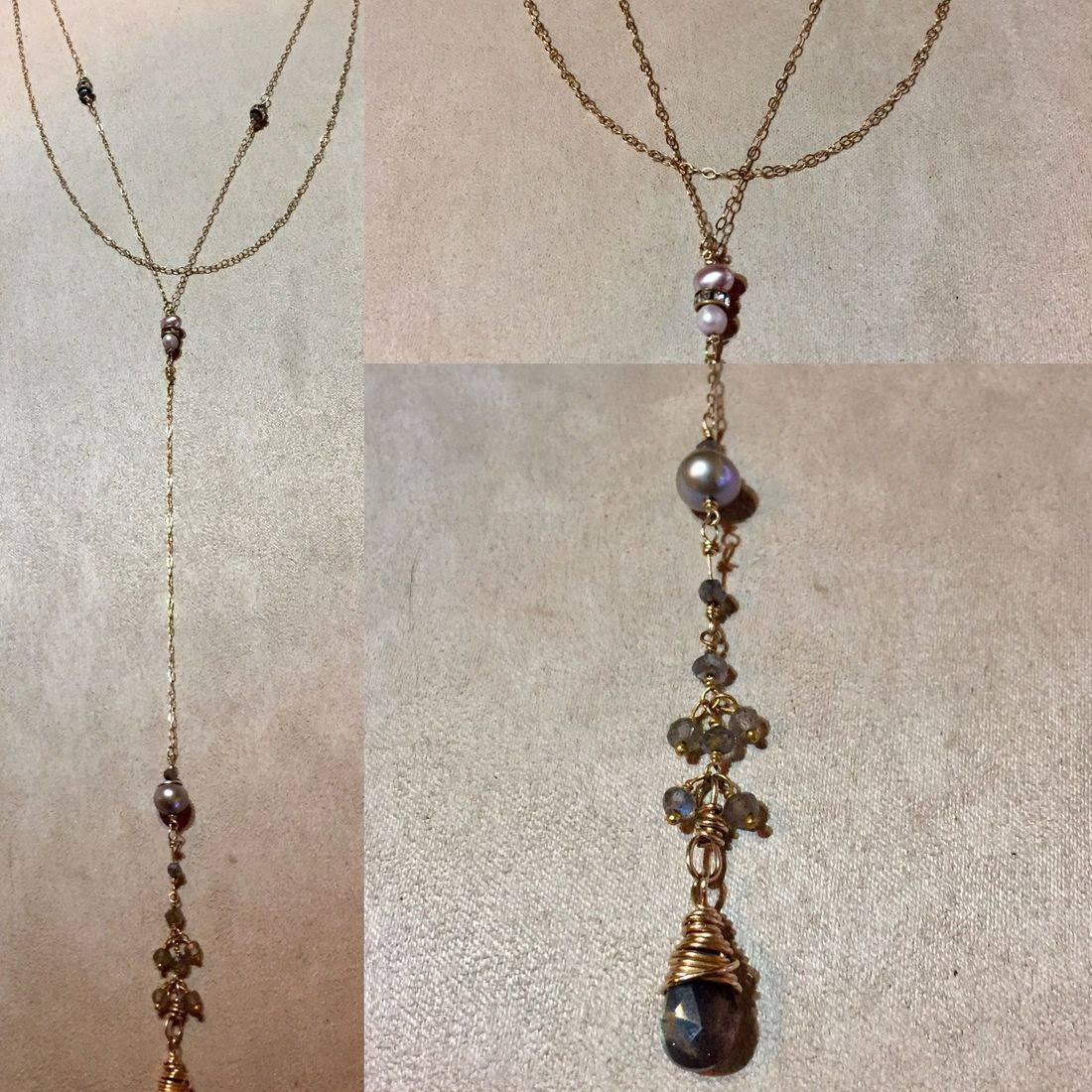 """5"""" labradorite and pearl drop, 25"""" overall, edwardian style necklace"""