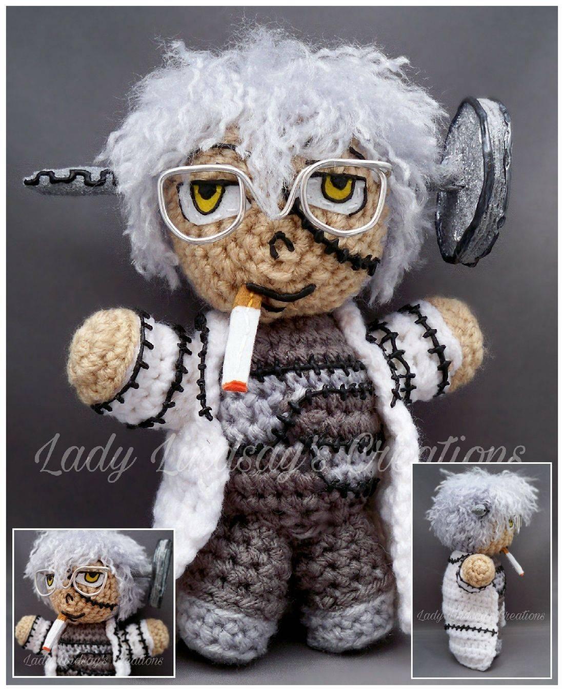 Professor Stein, Anime, Soul Eater, Otaku, Manga, Nerd, Geek, amigurumi, plush, crochet, handmade,  etsy, shop small