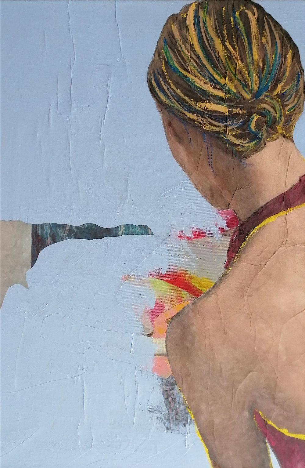 Aquarelle, Acrylique, Bleu, Histoire de l'art, Portrait, Femme, Mer