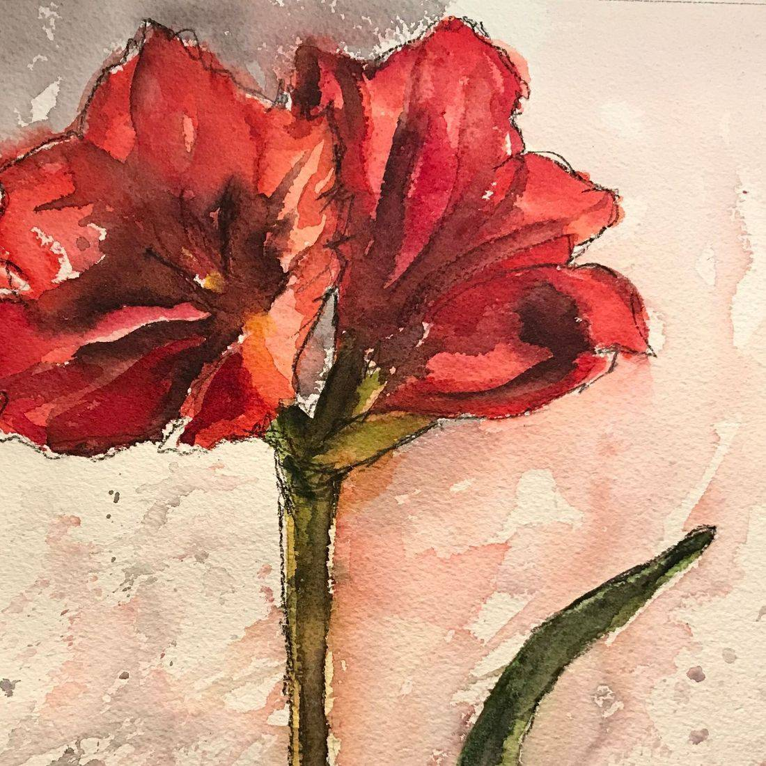 R Putbrese Watercolor, Rebecca Krutsinger watercolor painting of Floral