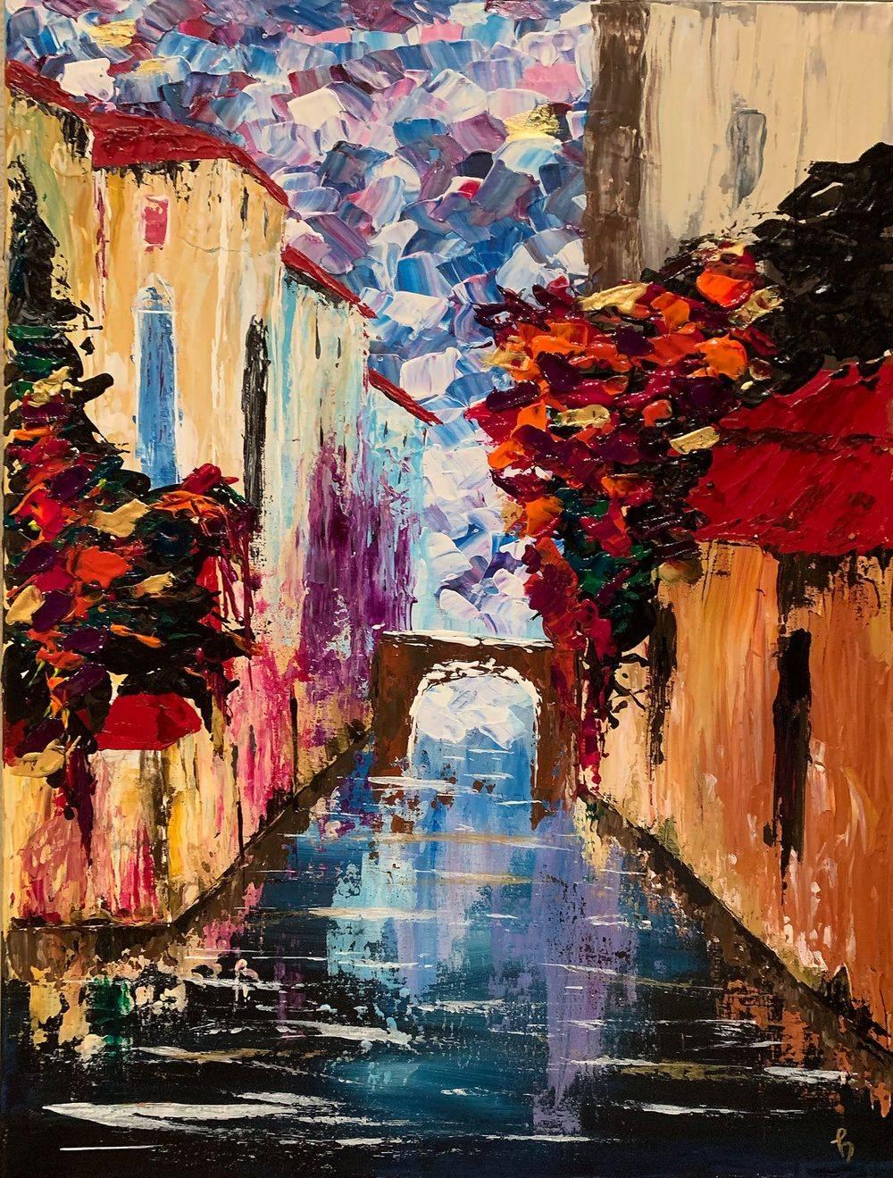 Buongiorno, Italy, Italian villa, Hope Angel Fine Art, Local Artist, Oregon Abstract Artist