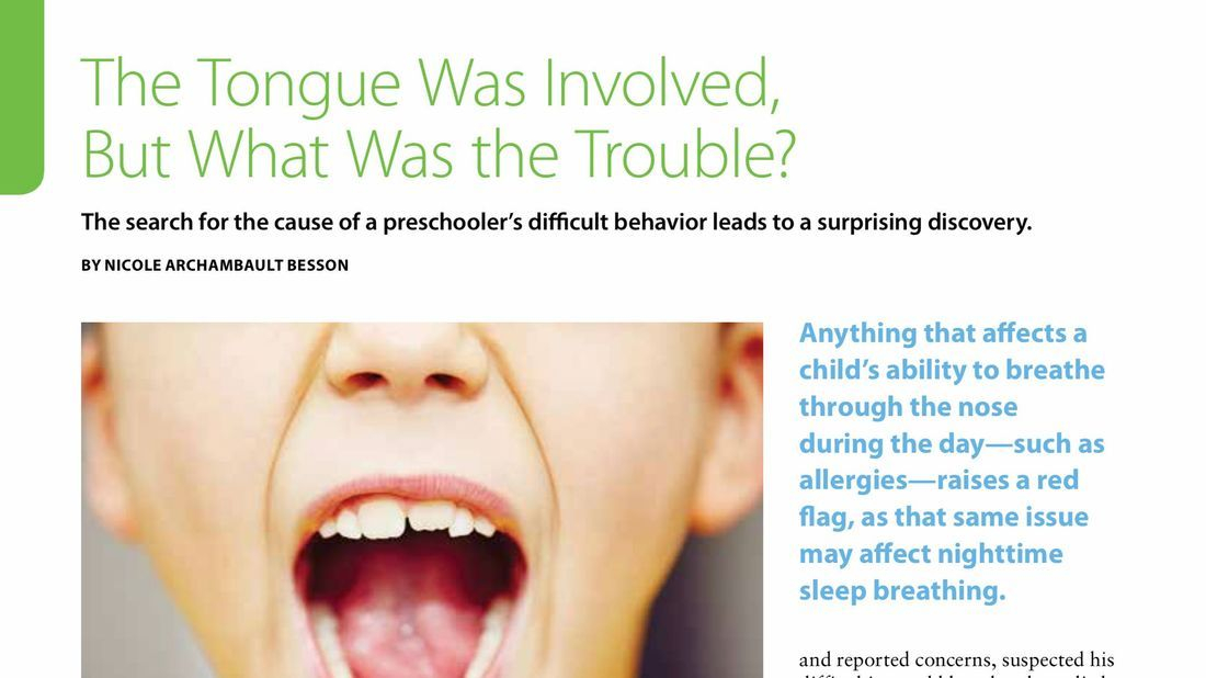 Article about child behavior and tongue tie