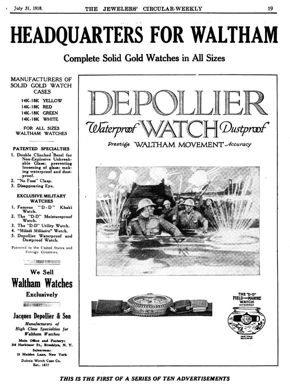 """The 1st advertisement published for the Waltham Depollier """"Field & Marine"""" Waterproof Watch. July 31, 1918."""