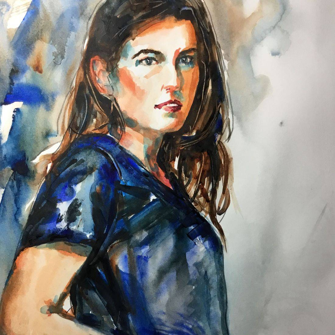 R Putbrese watercolor painting of girl/young woman by Rebecca Krutsinger