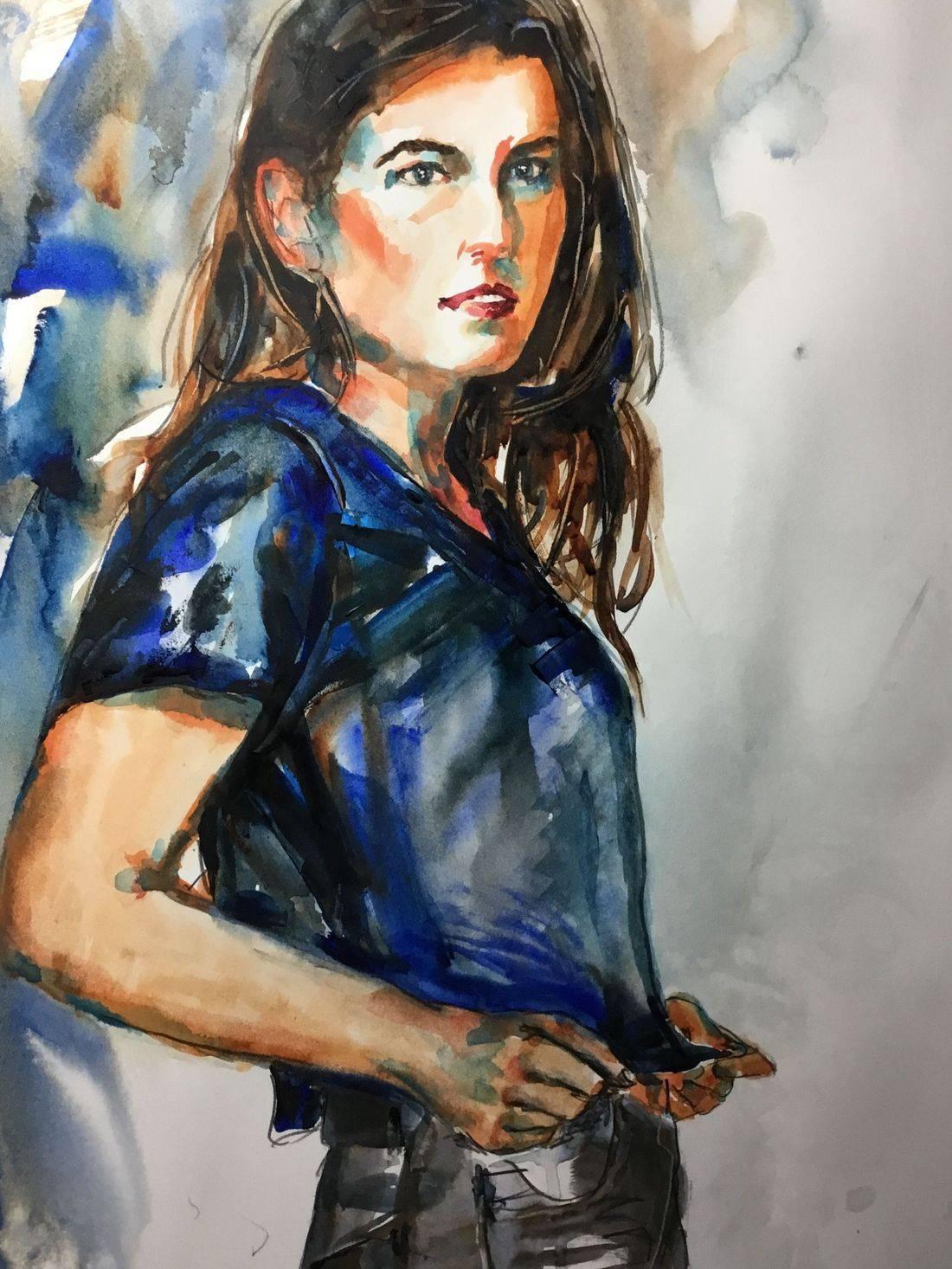 Rebecca/Becky Krutsinger rputbresewatercolor portrait of young woman