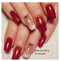 Student's nails after her Acrylic Nails Course