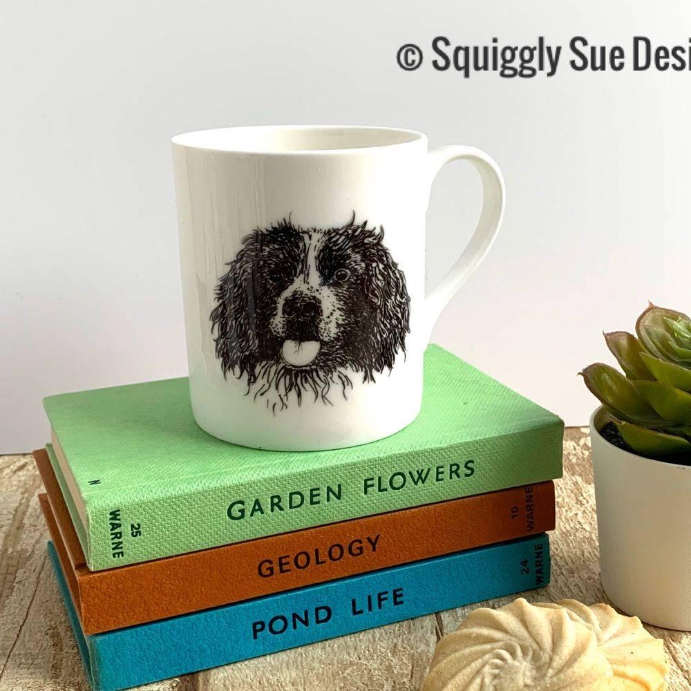 Springer Spaniel dog bone china mug cup pen & ink sketch