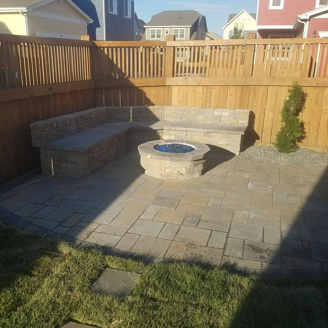 custom patio seating and firepit