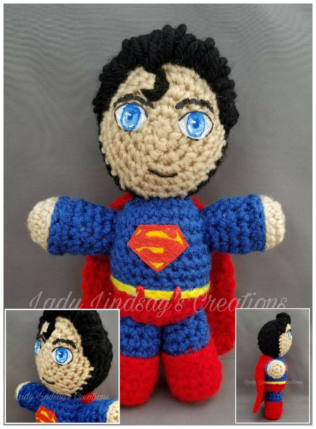Superman, Clark Kent, Man of Steel, amigurumi, plush, crochet, Etsy, Shop Small, nerd, geek, otaku, anime, comicbook, superhero,