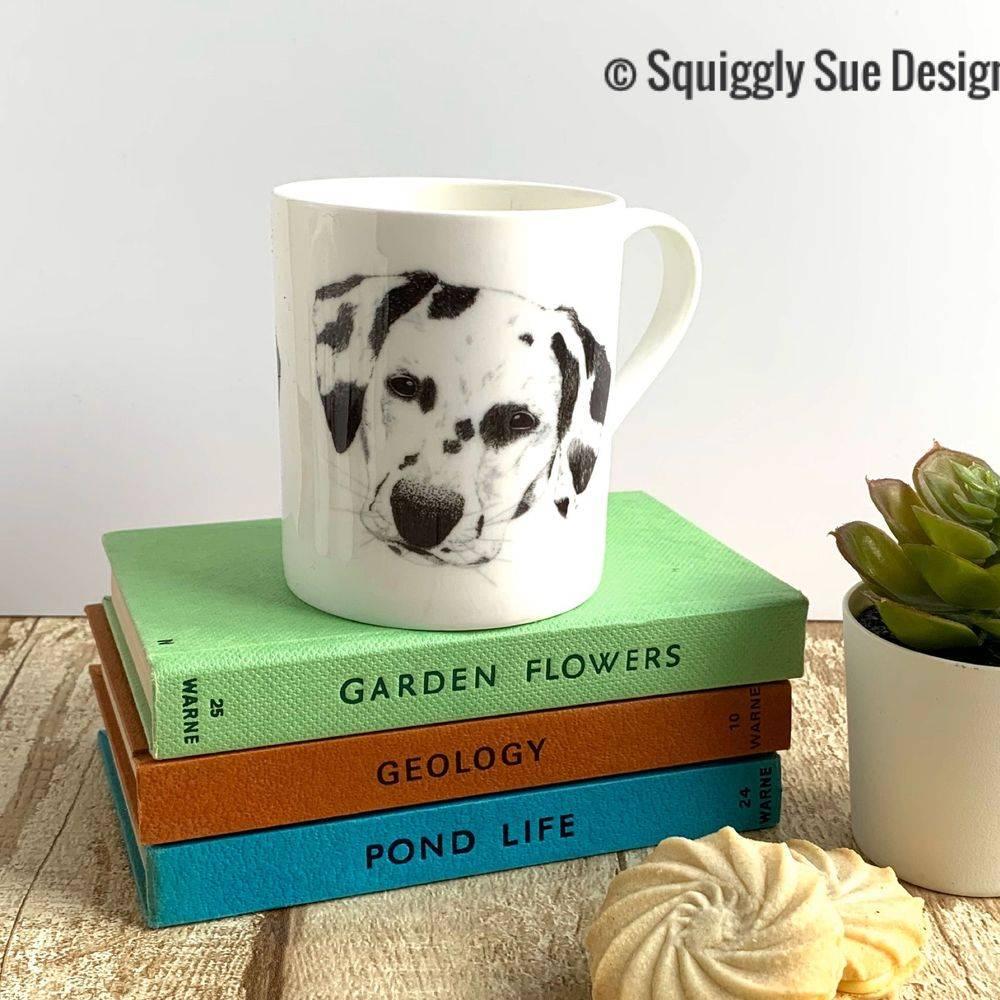 Dalmation dog bone china mug cup pen & ink sketch