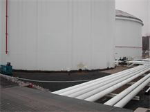 HDPE and Polyurea Synthetic storage tank containment liner; typical storage tank containment liner install