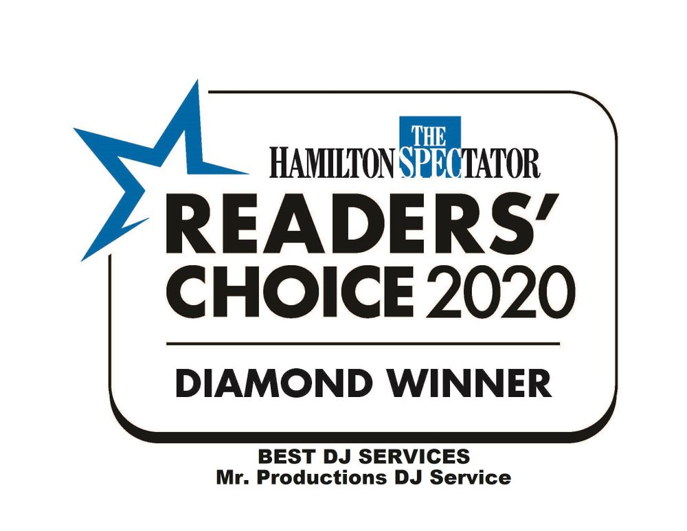 Best DJ Services Mr. Productions DJ Service Hamilton Spectator Readers Choice 2020 Diamond Winner