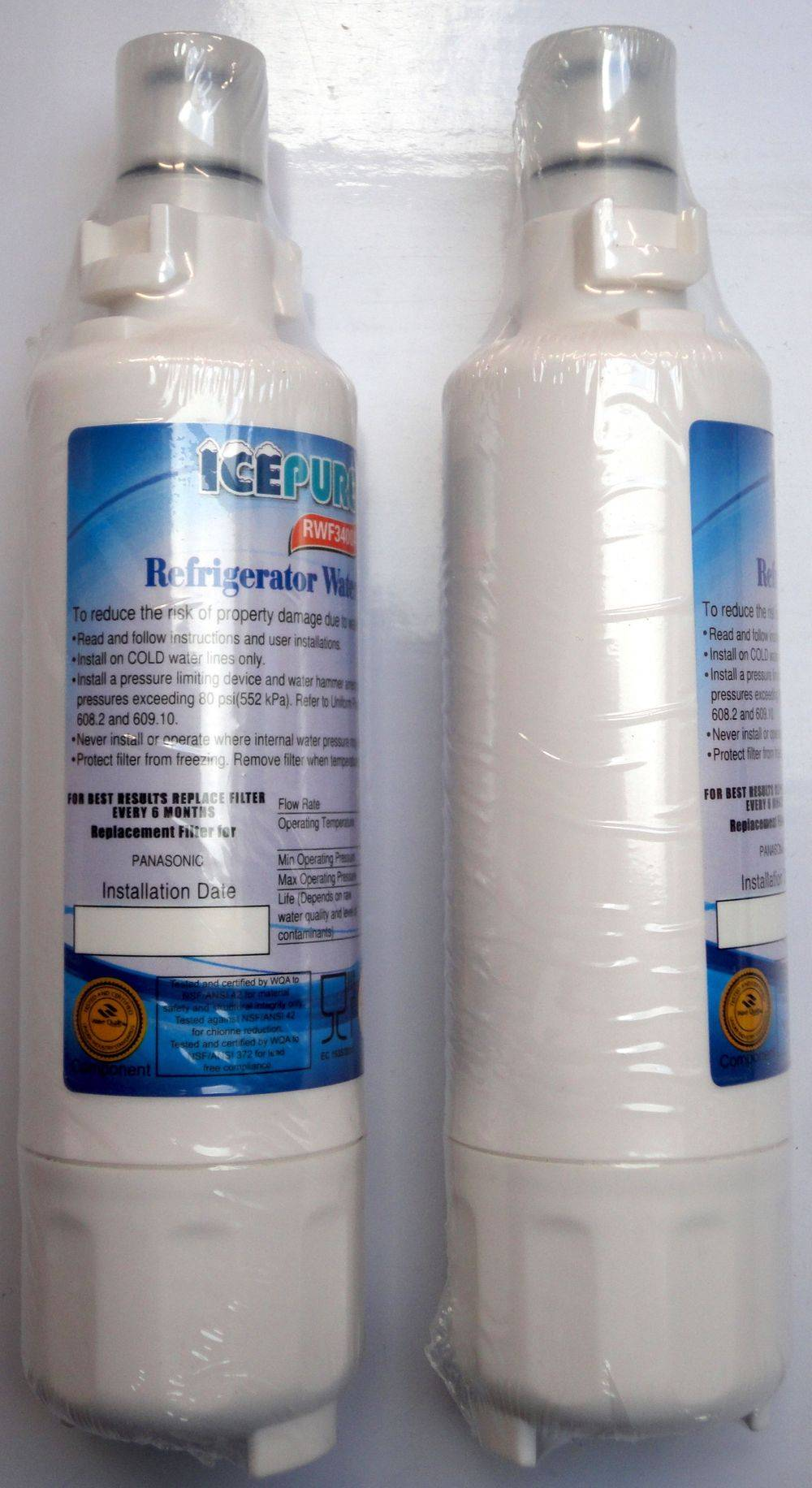 IcePure RWF3400A - RFC3400A for Panasonic - CNRAH-257760 - CNRBH-125950 - replacement refrigerator fridge water filter cartridges - top view - stocked and sold at www.aaafilterfast.co.uk