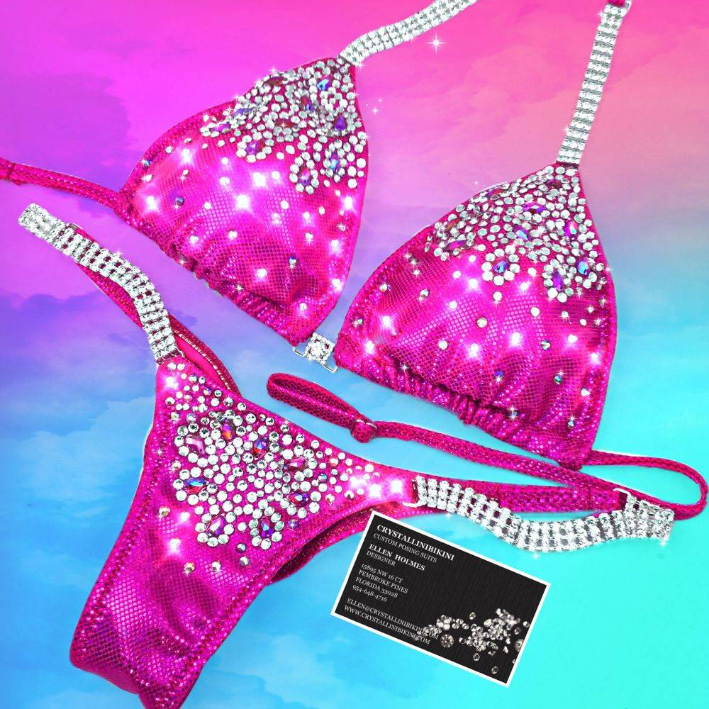 hot pink competition bikini