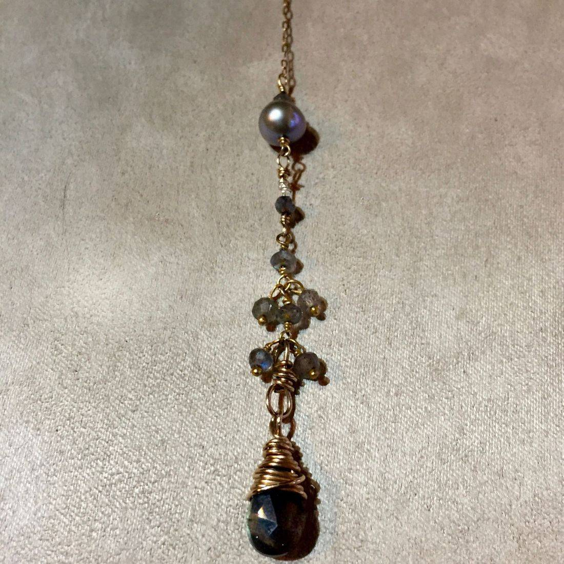"5"" labradorite and pearl drop, 25"" overall, edwardian style necklace"