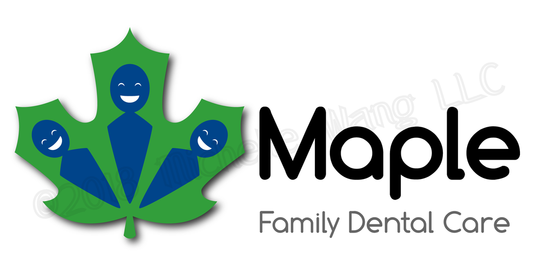 logo dental clinic family maple leaf people kids