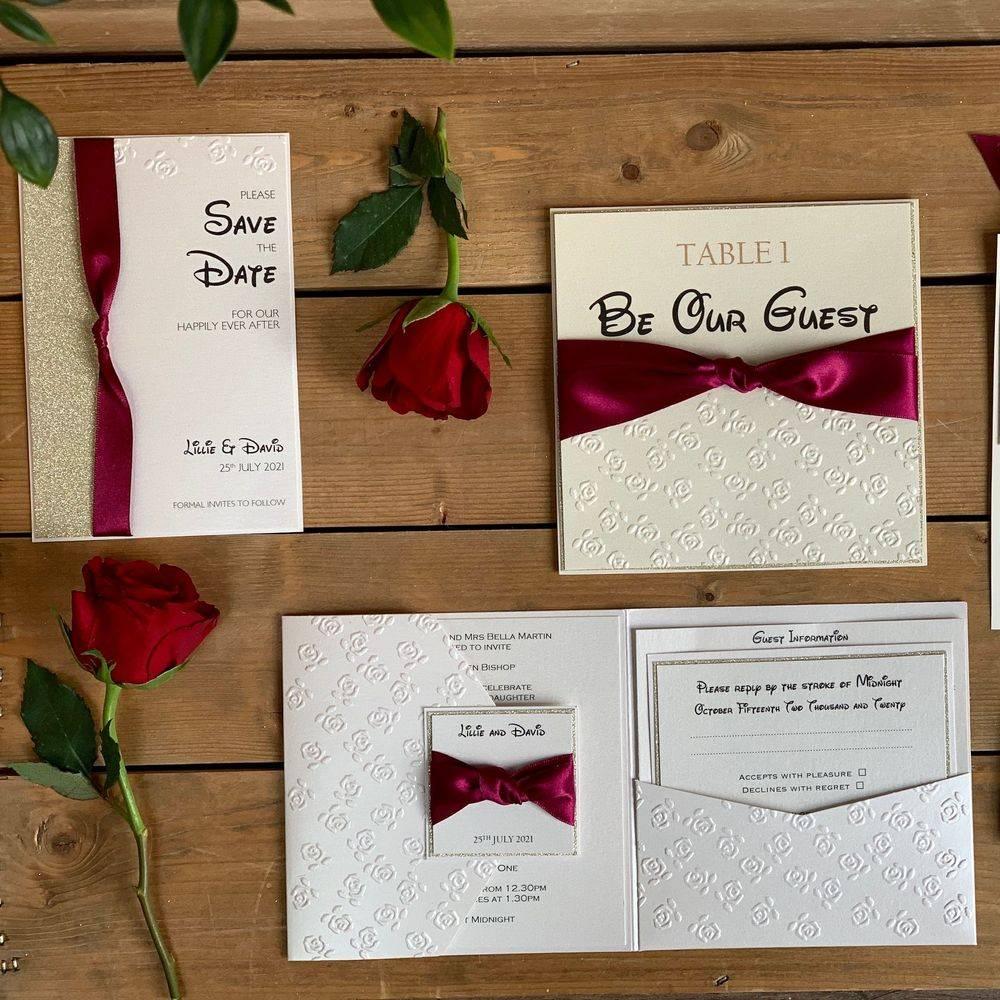 Disney style wedding invitations, Beauty and the Beast , Disney Princess wedding invitation