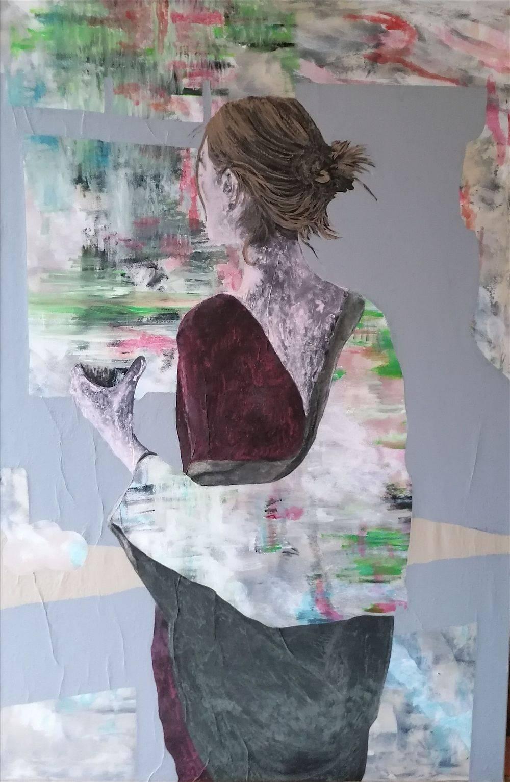 Aquarelle, Acrylique, Portrait, Femme, Histoire de l'art