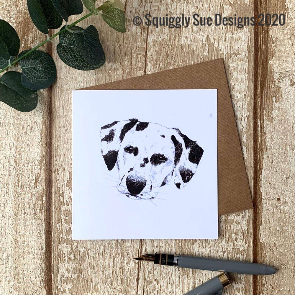 Dalmation dog  card from an original pen & ink sketch