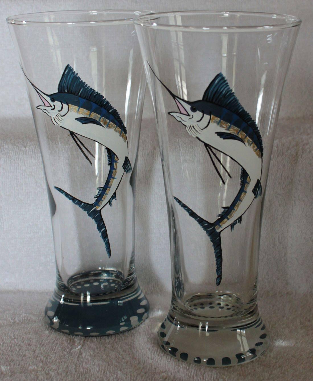 marlin wine glass, marlin beer glass