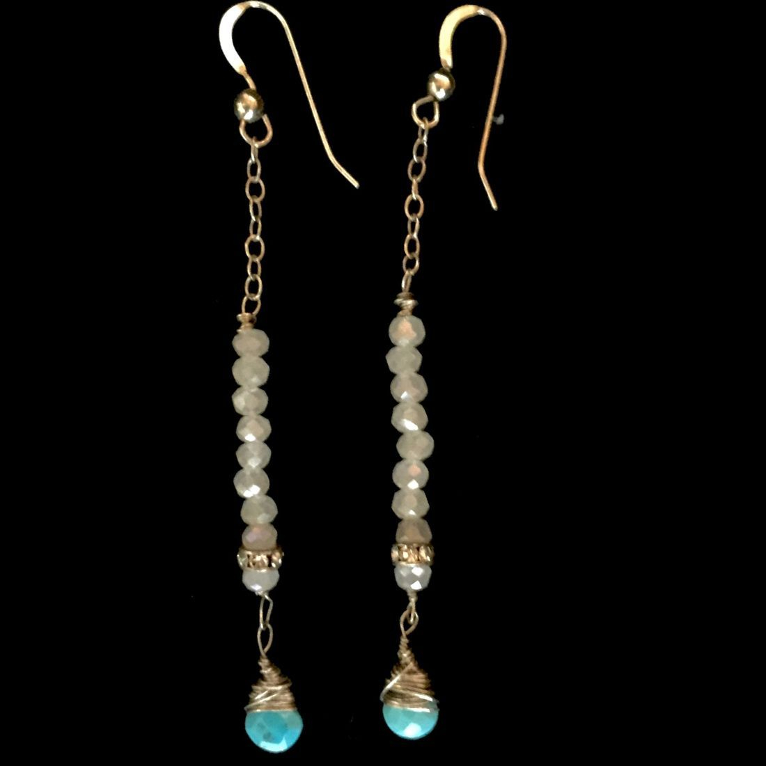 turquoise and moonstone candle earrings with Swarovski crystals on sterling chains and shepherd hooks