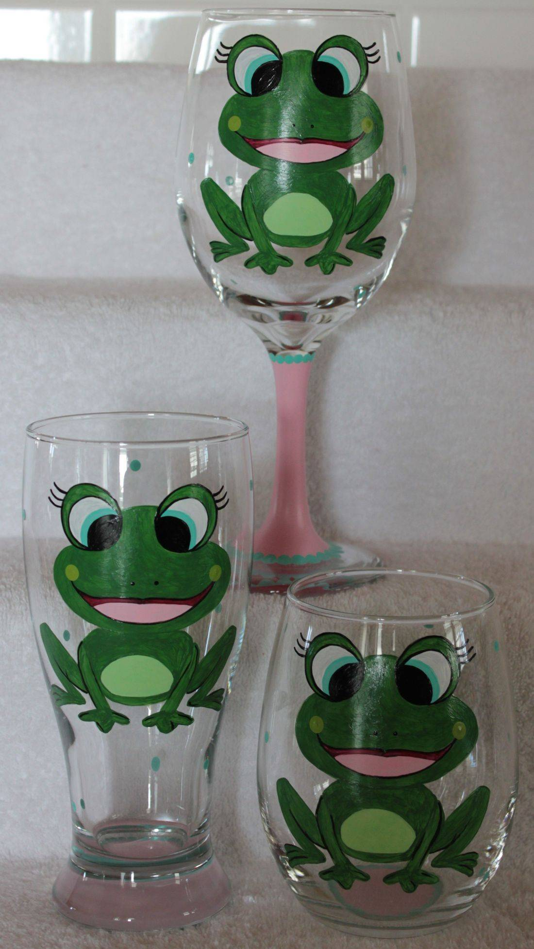 frog wine glass, frog beer glass, frog stemless glass