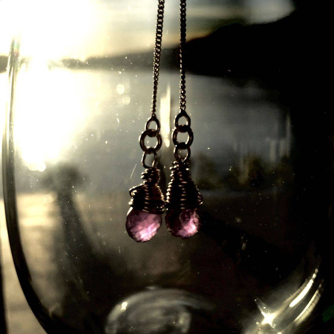 Dreamy wire wrapped Amethyst and silver drop earrings