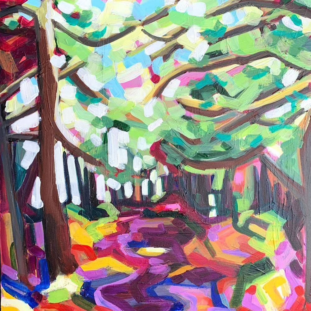 Coloful forest trail scene woodland path