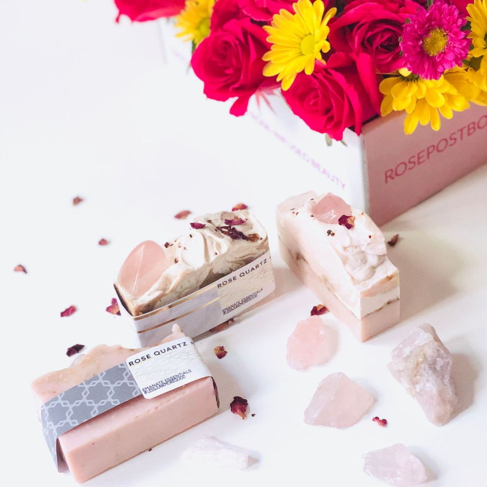 aromatherapy, rosepost box, rose bar soap, handmade natural soap, emanate essentials